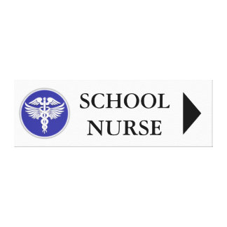 School nurse direction board | right stretched canvas print