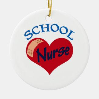 School Nurse Round Ceramic Decoration