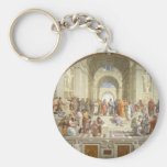 School of Athens Basic Round Button Key Ring