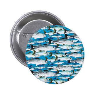 School of Atlantic Surf Fish in blue 6 Cm Round Badge
