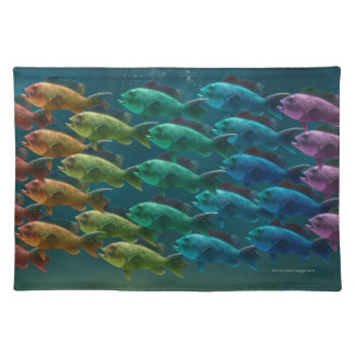 School of black sea bass in the colors of the placemat