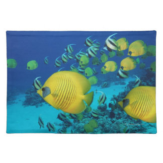 School of Butterfly Fish Swimming on the Seabed Placemat
