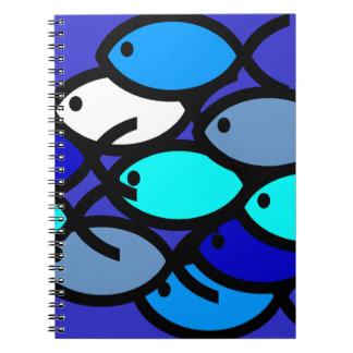 School of Christian Fish Symbols - Blue - Notebook