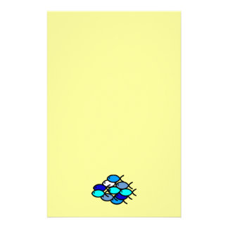 School of Christian Fish Symbols - Blue - Personalized Stationery