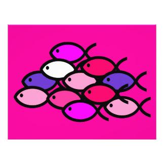 School of Christian Fish Symbols - Pink 21.5 Cm X 28 Cm Flyer