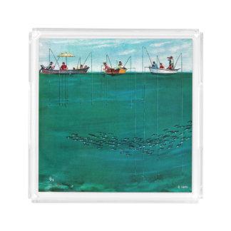 School of Fish Among Lines by Thornton Utz Acrylic Tray