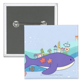 School of fishes swimming in underwater town 15 cm square badge