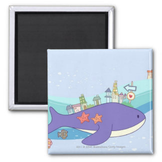 School of fishes swimming in underwater town square magnet