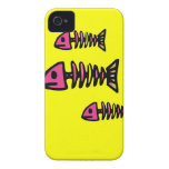 School of Pink Fish Bone Skeletons on Yellow Gifts iPhone 4 Cover