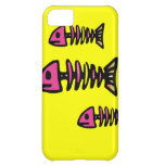 School of Pink Fish Bone Skeletons on Yellow Gifts iPhone 5C Cases