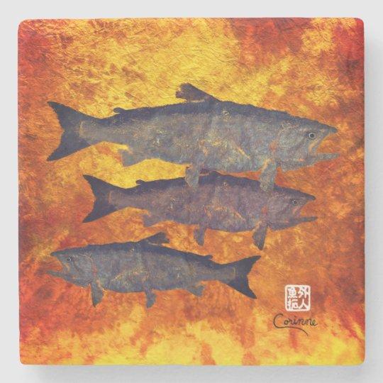 School Of Salmon - Marble Coaster Stone Beverage Coaster