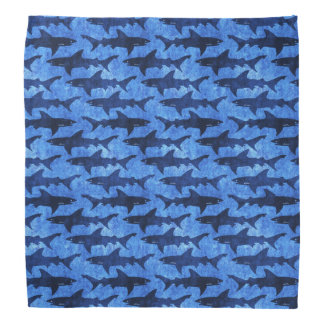 School of Sharks Blue Pattern Bandana