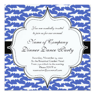 School of Sharks Funny Blue and White 13 Cm X 13 Cm Square Invitation Card