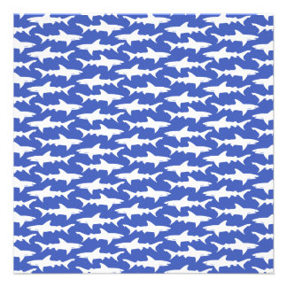 School of Sharks Funny Blue and White Personalized Announcement
