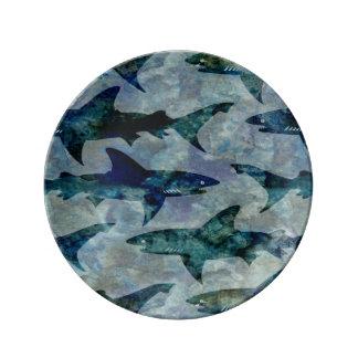 School of Sharks in Watery Blue Plate