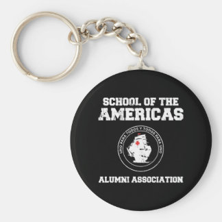school of the americas2 basic round button key ring