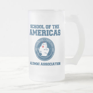 school of the americas alumni frosted glass mug