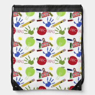 School Pattern Drawstring Backpack