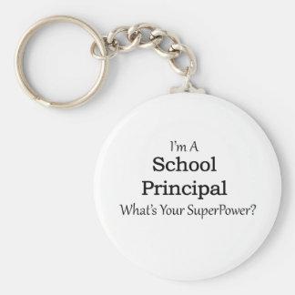 School Principal Basic Round Button Key Ring