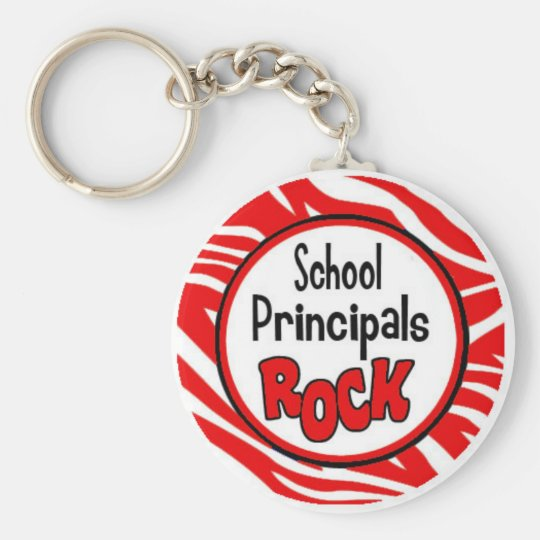 school principals rock basic round button key ring