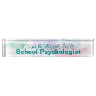 School Psychologist Abstract Watercolor Nameplate