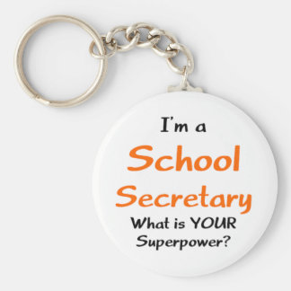School secretary basic round button key ring