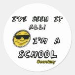 School Secretary Round Stickers