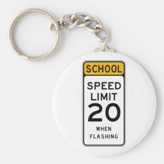 School Speed Limit 20 Street Sign Basic Round Button Key Ring