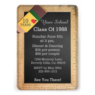 School Supplies Chalkboard Class Reunion Custom Announcements