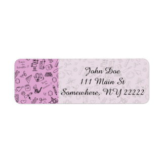 School Supplies Sketches on Pink Return Address Label
