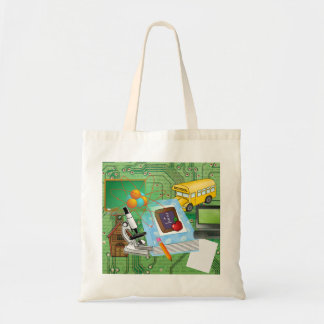 School Supplies & Tools Collage Canvas Bag