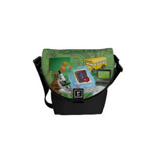 School Supplies Tools Collage Messenger Bags