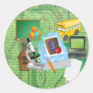 School Supplies Tools Collage Round Stickers