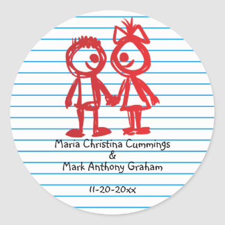 School Sweethearts Wedding Sticker