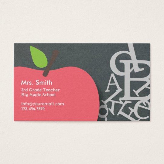 School teacher apple letters chalkboard business card zazzle school teacher apple letters chalkboard business card reheart Gallery
