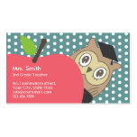 School Teacher Cute Apple & Owl Pack Of Standard Business Cards