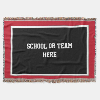 School Team Spirit Blanket Black White  Red Border