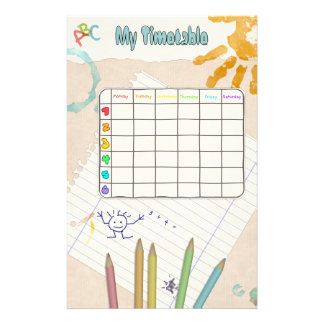 School Timetable Customized Stationery