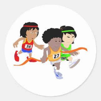 School Track Team Round Sticker
