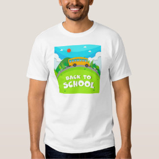 Schoolbus riding on the road t shirt