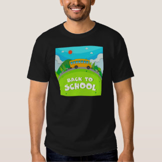 Schoolbus riding on the road t shirts