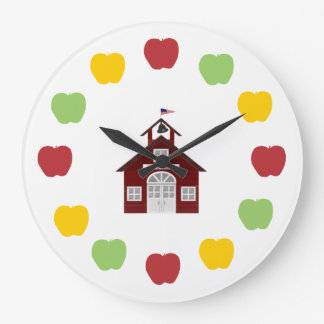 Schoolhouse and Apples Large Clock