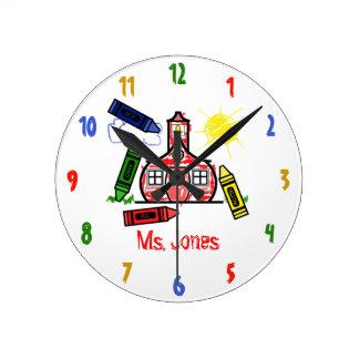 Schoolhouse & Crayons Teacher Clock