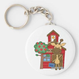 Schoolhouse Giraffe Basic Round Button Key Ring
