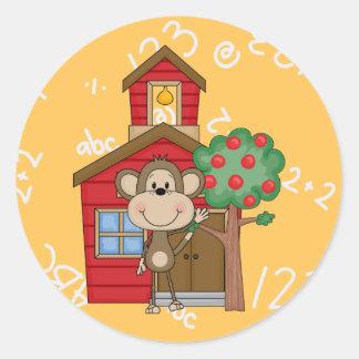 Schoolhouse Monkey Classic Round Sticker