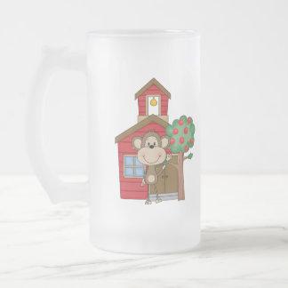 Schoolhouse Monkey Frosted Glass Mug