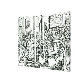 Schoolroom scene in Tudor times Canvas Print