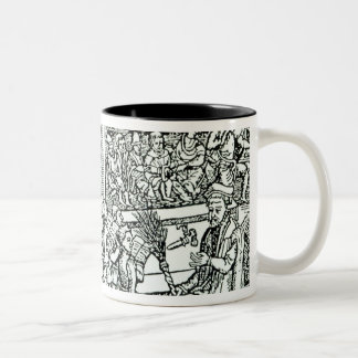 Schoolroom scene in Tudor times Two-Tone Coffee Mug