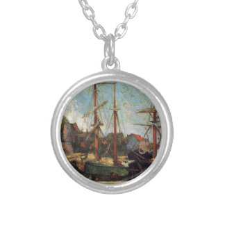 Schooner and three masters by Paul Gauguin Silver Plated Necklace