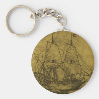 Schooner And Vintage Map Basic Round Button Key Ring
